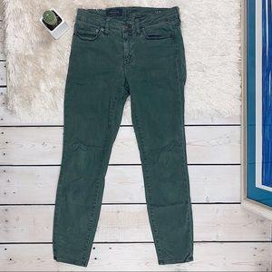 J. Crew | Solid Green Toothpick Denim Skinny Jeans